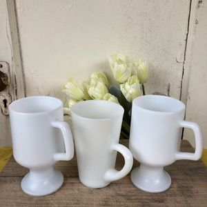 Set of Antique Milk Glass Mugs